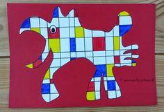Benodigdheden: - wit A4 papier - grijs potlood/ gum - liniaal - zwarte stift - rode, gele en blauwe stift - gekleurd A4 papier: r...