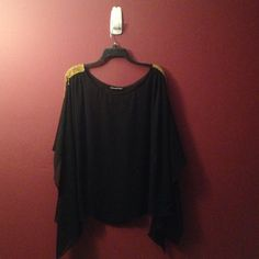 Black Shirt w/ gold epaulets New                                                                                            Black dressy shirt.                                                           Beautiful for a night out. Madison paige Tops Blouses