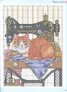 """Cat """"helping"""" with sewing cross stitch Cat Cross Stitches, Cross Stitch Charts, Cross Stitch Designs, Cross Stitching, Cross Stitch Patterns, Beaded Cross Stitch, Cross Stitch Embroidery, Embroidery Patterns, Cat Quilt"""