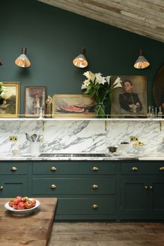 12 Of The Hottest Kitchen Trends – Awful or Wonderful? Bring it on, I respond. devol kitchens forest green cabinets marble and a shelf with art - Painted Colorful Kitchen Cabinets Green Kitchen Cabinets, Brass Kitchen, Kitchen Cabinet Colors, Kitchen Colors, New Kitchen, Kitchen Hardware, Brass Hardware, Dark Cabinets, Brass Handles