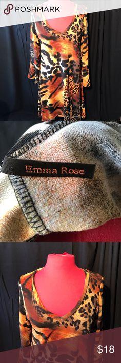 Emma Rose Tiger Animal Print Tunic Style Dress Very nice condition Tunic Dress. Asymmetrical Hem. Bell Wide cuffs. Long Sleeve. From smoke free home. Emma Rose Dresses Asymmetrical