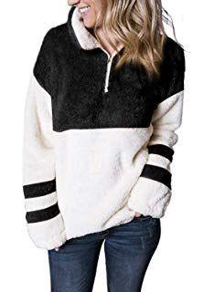GAGA Womens Teddy Fleece Long Sleeve Fuzzy Sweatshirt Hooded Hoodie Pullover Outwear