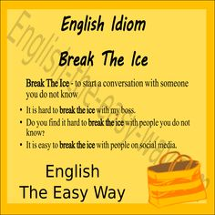 English Idiom - Break The Ice I want to talk to ________ on Facebook. 1. Lisa 2. my boss 3. both  #Idiom