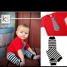 Striped tie on onzie w strip leggings
