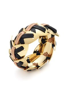 Giles & Brother Gold & Leather Bracelet