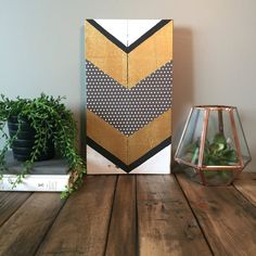 13x7 reclaimed pallet wood mixed media chevron wood sign. Handmade from reclaimed pallet wood with hand painted chevrons (no tape or stencils