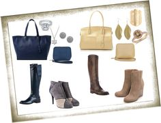 """""""Blue versus Gold in the battle of the boots (B.E. by Belen Echandia tote and satchel)"""" by ilovehandbags on Polyvore"""