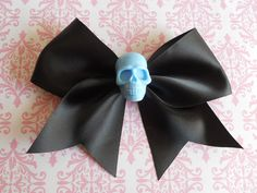 black Hair bow  with blue skull sweet punk lolita pastel goth