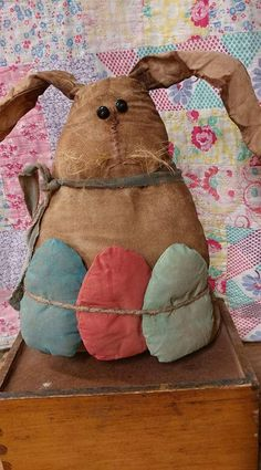 Primitive rabbit easter eggs Bunny rabbit rabbit doll Primitive doll Easter decor Wacky primitive rabbit 10 tall x 8 wide. All rag stuffed Diy Spring, Spring Crafts, Bunny Crafts, Easter Crafts, Easter Ideas, Hoppy Easter, Easter Eggs, Diy Osterschmuck, Primitive Crafts