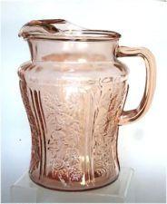 Sharon Cabbage Rose Pink Depression Glass Pitcher Ice Lip