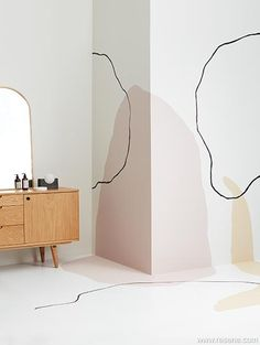 The trend in hand-painted wall murals is for a relaxed, anything goes, freehand style including small painted features. Bedroom Murals, Bedroom Wall, Bedroom Decor, Diy Wall, Wall Decor, Mural Wall Art, Organic Shapes, My Room, Home Deco