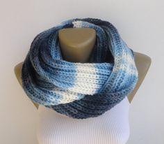 blue knit scarf infinity scarf women scarf men por senoAccessory