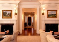 Twin fireplace mante
