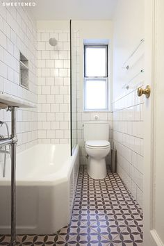 Washington Heights Bathroom Features Rose And Burgundy Encaustic Tile, Toto  Toilet, And Shower Glass Partition.