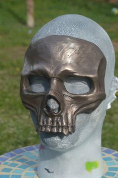 Bronze Skull Mask cold cast bronze and resin by RavenKingRelics
