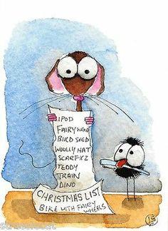 ACEO Original Watercolor Folk Art Illustration Mouse Christmas List Paper Crow   eBay