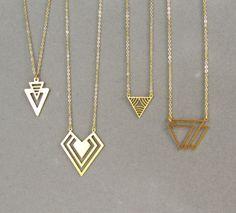 Gold Triangle Necklace - Modern Geometric Jewellery