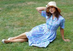Vintage picnic Damart Dress with a Belt Midi by VintagEraShop