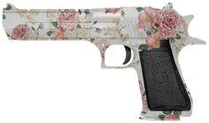Feminine, flowery ladies pistol (50 cal. Desert Eagle, I believe?).