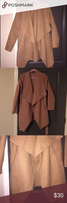 Nude waterfall coat size women's medium Worn once, slightly wrinkled, decent condition. No trades accepting offers! American Diva Jackets & Coats Trench Coats
