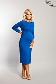 08a2598726223 Katie Piper Maternity Blue Twist Front Bodycon Dress - Want That Trend