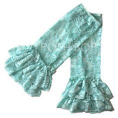 Ruffle Lace Leg Warmers - Newborn Baby Infant Girls Toddler (Sea Green) $7