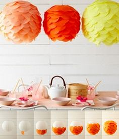 Layers of tissue paper overlap to create this beautiful scalloped effect