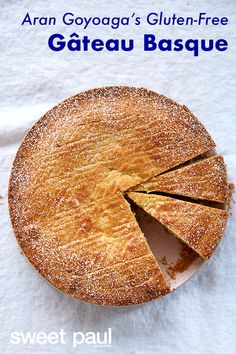 A gluten-free take on the classic Basque dessert filled with homemade custard. The pastry is somewhere between a tart and a cake, and oftentimes, the top is decorated with a lauburu, the symbol of Basque unity. Just Desserts, Dessert Recipes, Recipes Dinner, Recipe Girl, Recipe Box, Sweet Paul, Different Cakes, Gluten Free Recipes, Easy Recipes