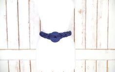 80s vintage navy dark blue braided rope medallion belt/ woven chord statement belt by GreenCanyonTradingCo on Etsy