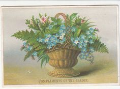 Compliments of the Season Basket of Flowers Ferns Christmas Vict Card c1880s