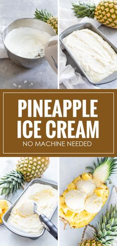 Learn how to make this Easy Pineapple Ice Cream using just 4 ingredients! There is no machine or ice cream maker needed, all you must do is mix the ingredients! This Pineapple Ice Cream is sweet, delicious, and creamy! Pineapple Ice Cream, Crushed Pineapple, My Recipes, Vegan Recipes, Pineapple Health Benefits, Refreshing Desserts, Filipino Desserts, Pound Cakes, Ice Cream Maker