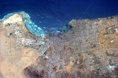 Jeddah, Saudi Arabia. 3 million people on the Red Sea. You can see the road that leads to Mecca