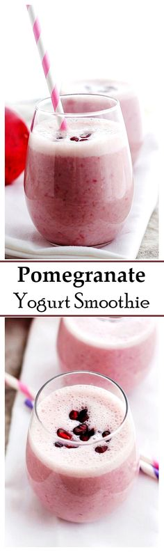 Delicious, quick and healthy Pomegranate Yogurt Smoothie made with Pomegranate juice, yogurt, and sweetened with honey.