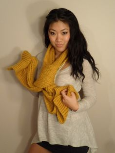 Mustard Knitted Scarf Chunky Neck warmer Winter by BiKay on Etsy, $170.00
