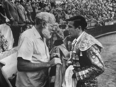 Spanish Matador Antonio Ordonez with Friend, Author Ernest Hemingway in Arena Before Bullfight