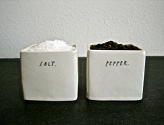 square SALT and PEPPER cellars. by raedunn on Etsy, $48.00