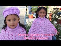Poncho Hojitas en Relieves PARTE 2 tejido a crochet con indicaciones para cualquier edad - YouTube