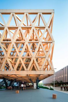 World Architecture Community News - Undurraga Devés Arquitects designed a fully-structural framework for Chilean Pavilion - Expo Milano Le Corbusier Architecture, Timber Architecture, Architecture Concept Drawings, Timber Buildings, Pavilion Architecture, Baroque Architecture, Architecture Graphics, Futuristic Architecture, Sustainable Architecture