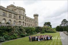 Large group wedding photo taken at Eastnor Castle