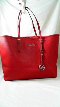 790171cff4fe4 Michael Kors 1 Jet Set Medium Double Strap Tote Red Handbag Bag Purse Solid  Auth wonderful