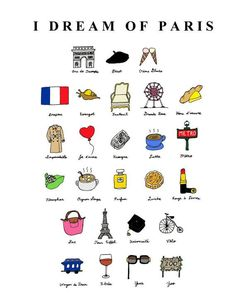 I Dream of Paris French ABCs 8x10 Illustration Print by CocoDraws, $25.00