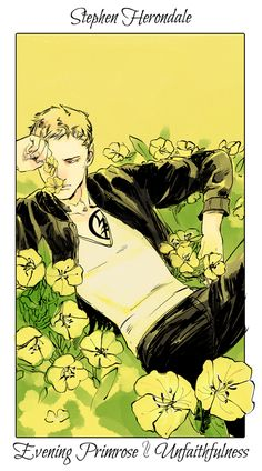 Stephen with evening primroses, The language of flowers (picked by C.Clare, art by C.Jean)