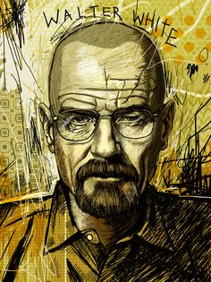 """WALTER WHITE"" - Drawing Walter White from the show Breaking Bad was an extremely frustrating experience because I was attempting to draw in a style Illustrators, Breaking Bad Poster, Illustration, Graphic Design Illustration, Male Sketch, Graphic Novel, Art"