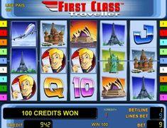 Игровой автомат First Class Traveller посвящен любителю путешествий. В нём вы будете получать реальные деньги, составляя призовые комбинации на пяти барабанах с девятью линиями. Аппарат интересен раундом на удвоение и серией фриспинов. Free Slots, First Class, Slot Machine, Competition, Travel, Viajes, First Grade, Destinations, Traveling