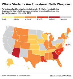 Private Officer Breaking News: These Are The States Where Students Most Often Bring Weapons To School privateofficer.com  Where Students Are Threatened With Weapons