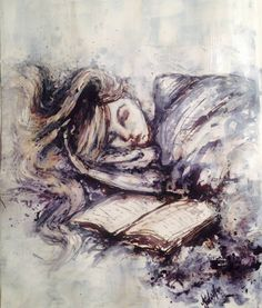 Girl sleeping acrylic painting black and white by AntoinetteDenise, $30.00