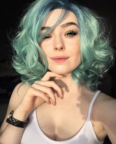 Wavy short lace front hair with pastel green color by papapeachy