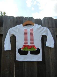 Elf Shoes Appliqued Shirt Short or Long Sleeves by theuptownbaby Elf Yourself, Elf Shoes, All Things Christmas, Christmas Ideas, Santa Pictures, Sewing Appliques, Cute Tshirts, Short, American Girl