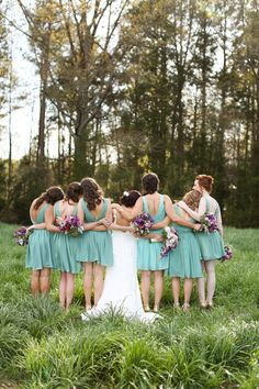 dusty teal bridesmaid dresses | Anna K #wedding