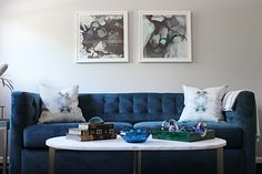 Rochester Sleeper Sofa + Marble Oval Coffee Table from west elm